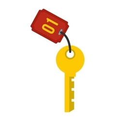 Hotel room key icon flat style vector