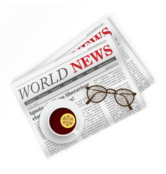 Newspaper coffee and sunglasses world news vector