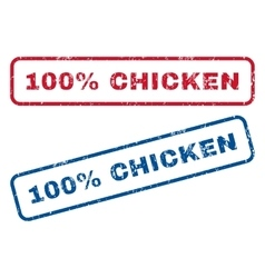 100 percent chicken rubber stamps vector