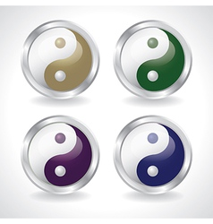 Ying yang buttons vector