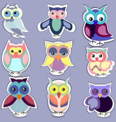 Set of separated cute owl stickers vector
