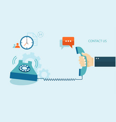 Flat of contact us with icons vector