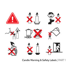 candle safety stickers vector image