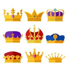 golden crowns of kings prince or queen vector image