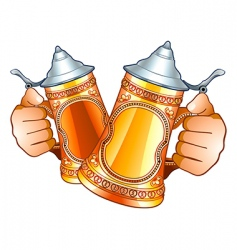 beer steins vector image