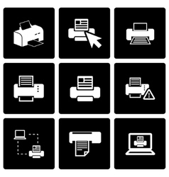 Black printer icon set vector