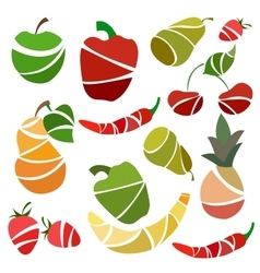 Set isolated fruits and vegetables pear pepper vector