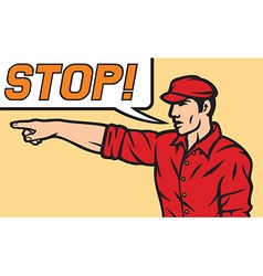Stop comic book style vector