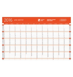 Red calendar planner 2016 year design print vector