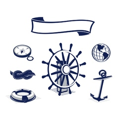 sea icons set blue vector image