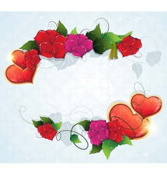 Floral frame with valentine hearts vector