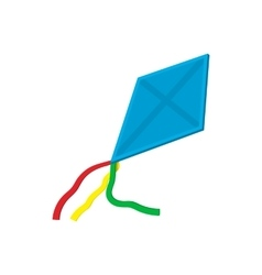 Flying blue kite cartoon icon vector