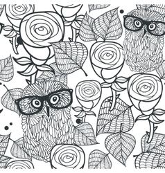 Seamless black and white pattern with flowers and vector
