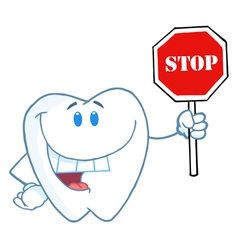 Tooth Holding A Stop Sign vector image