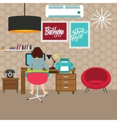 Freelancer girl woman working on work-space home vector