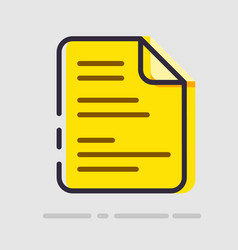 Abstract flat yellow document icon vector