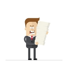 Angry cartoon businessman or manager during the vector