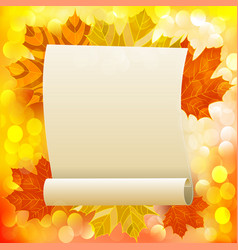 autumn background with leaves and place for text vector image
