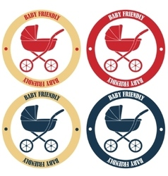 Baby friendly stickers in retro colors vector image