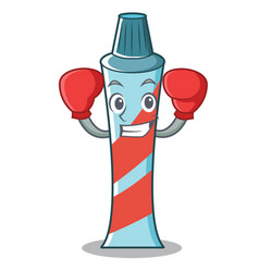 boxing toothpaste character cartoon style vector image vector image