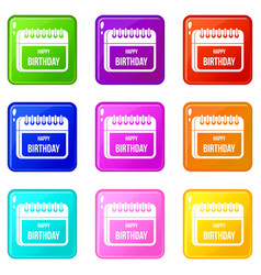 Calendar happy birthday set 9 vector