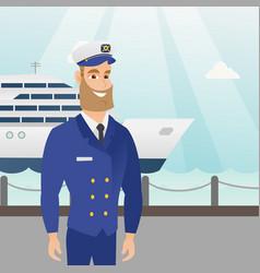 caucasian ship captain in uniform at the port vector image