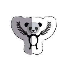 Color sticker with panda bear and olive branchs vector