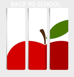 Cute note papers with red apple welcome back to vector image