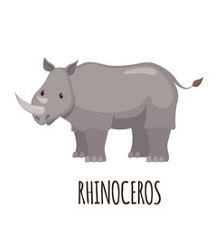 cute rhinoceros in flat style vector image vector image