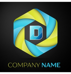 D letter colorful logo in the hexagonal on black vector