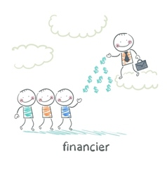 financier stands on a cloud and throws money to vector image