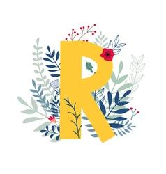 Floral alphabet letter r vector