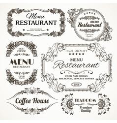 Floral restaurant labels vector