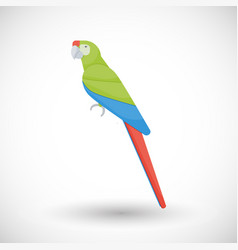 great green macaw flat icon vector image vector image