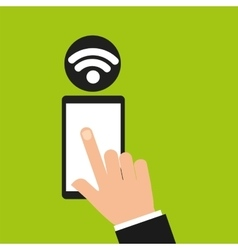 Hand holding smartphone internet wifi icon vector