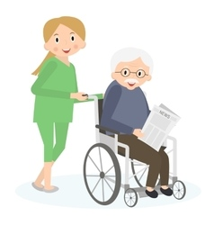 Handicapped senior man in a wheelchair special vector
