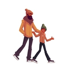 Happy black african father and son ice skating vector image