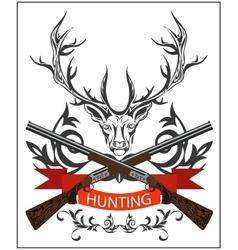 Hunting emblem deer decorative tape gun rifles vector