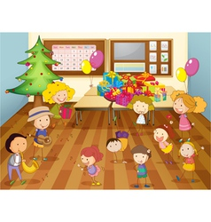 Kids dancing in classroom vector
