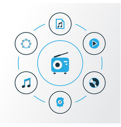 Music colorful icons set collection of playlist vector