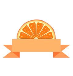 Orange slice with paper banner vector image vector image