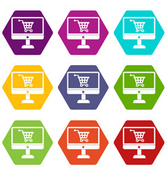 Purchase at online store through computer icon set vector