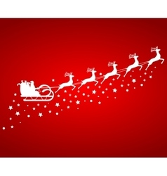 Santa claus in sled rides in the reindeer vector