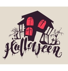 Scary halloween house vector