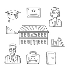 School and education sketch icons vector image vector image
