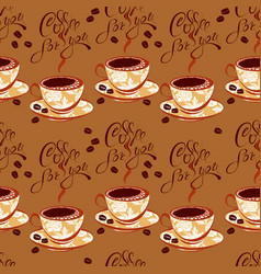 seamless pattern with coffee cups beans vector image vector image