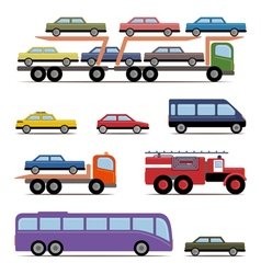 Set of colorful transport different kinds of vector