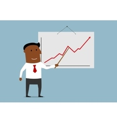 Successful businessman presenting a growing chart vector