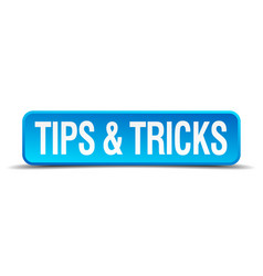 Tips and tricks blue 3d realistic square isolated vector