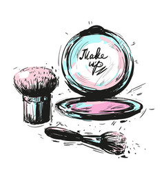 Various cosmetics make up brushes isolated on vector